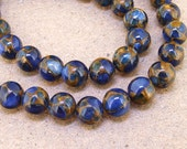 "One Full Strand -- Charm Round Zambian Gold Blue Jade Stone Gemstone Beads---- 15"" in length"
