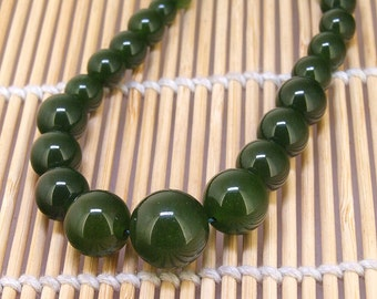 "Round Olive Jade Bead 6mm-14mm 60Bead gemstone bead turriform Shape Strand 17"" Full Strand Superb Round  Green jade  Charm Jade Loose Strand"