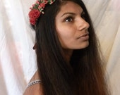 Red rose flower hair crown floral hair wreath garland- A woodland autumn boho crown