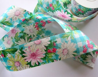 """Floral Daisy Gingham Cotton Ribbon Trim, Multi / Teal, 1 7/8"""" inch wide, 1 yard, For Mixed Media, Gifts, Scrapbook,  Home Decor, Accessories"""