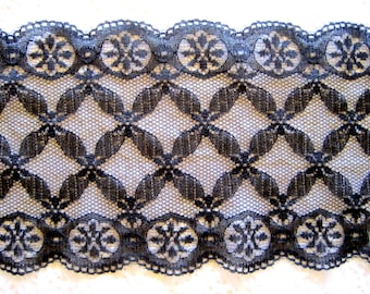 """Victorian Extra Wide Stretch Lace, Black, 5 3/4"""" inch wide, 1 Yard For Apparel, Home Decor, Accessories, Mixed Media, Scrapbook"""