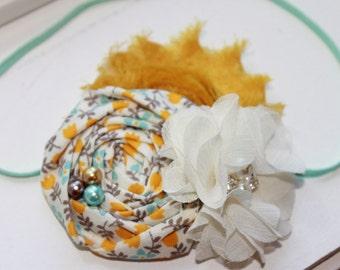LAST ONE Aqua, Mustard Yellow and Ivory Baby Headbands, Baby Flower Headband, Newborn Headband, Baby Girl Headband, Photography Prop