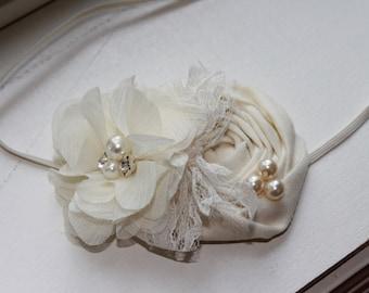 Ivory Rosette Baby Flower Headband, Baptism Heabdnad, Christening Headband, Newborn Headband, Baby Girl Flower Headband, Photography Prop