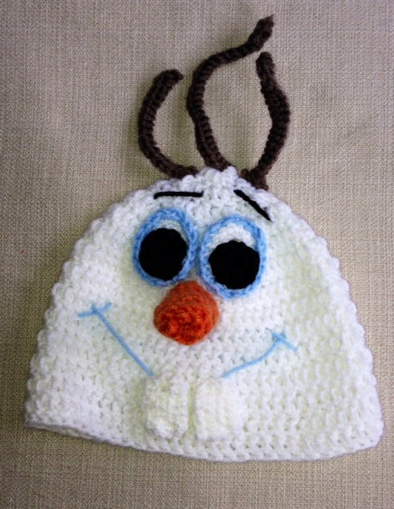 Crocheted Olaf the Snowman from Frozen hat by lilosandstitches