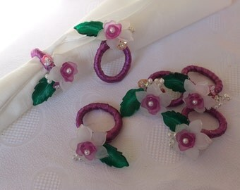 Set of 6 Napkin Rings With Fuschia Roses