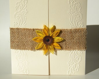 Burlap sunflower invitation / Rustic sunflower invitation
