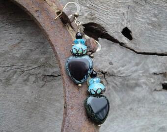 Striking Black and Turquoise Blue Heart Earrings