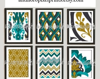 Ikat Digital illustration Wall Art - Set of 6 - 8x10 Prints - Featured in Turquoise Grey (UNFRAMED)