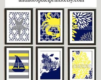Yellow Navy Beach House Digital Illustration Print Wall Art (6)  Prints - 5x7 Prints -  (UNFRAMED)
