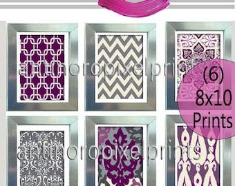 Digital Print Wall Art Prints Vintage / Modern Inspired  - Set of 6 - 8x11 Prints - Purples / Greys (UNFRAMED)