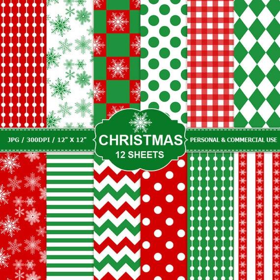 12 Christmas Digital Scrapbook Paper Digital Paper