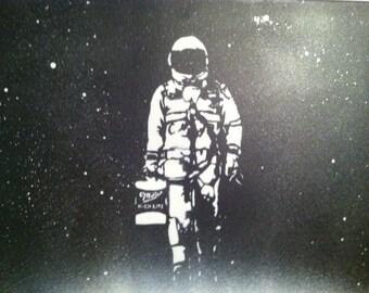 BadAsstronaut - Spray Paint Stencil Graffiti Art Canvas + Vinyl - Astronaut Badass Spaceman Miller High Life