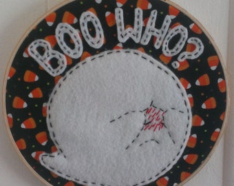 Handmade embroidered hoop Shy Boo from Mario Bros -8 inches
