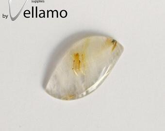 Natural golden needle quartz fancy cabochon, 19mm x 36mm, golden needle rutile quartz, designer cabochon