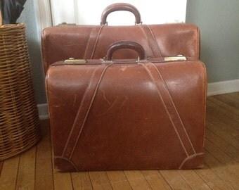 Vtg Platt Pilot Leather Luggage // 2pc Travel Set