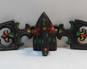 Black Cast Iron Miniature Sad Iron & Two Trivets Hand Painted Salesman Sample Childs Toy 3pc Set