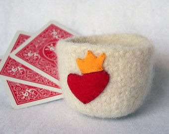 king of hearts ivory wool felted bowl cup with heart and crown