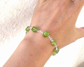 Natural Gemstone Peridot Nugget 925 Sterling Silver Wire Wrapped Bracelet