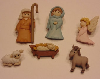 6 piece Nativity button set, 18-33 mm (B4)