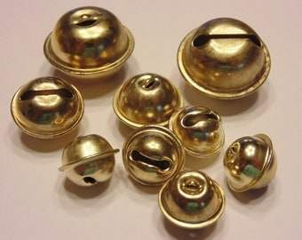 9 piece gold color jingle bell mix, 18-30 mm (B9)