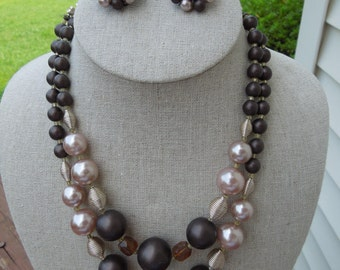 Vintage JAPAN Necklace and Earrings Set.  1950s.  Shades of Brown and Cream, Silver Tone Fixtures, Signed Japan