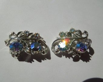 Vintage Clip Earrings, Clip On Type, Silver Tone with Aurora Borealis Rhinestones.  Spectacular.