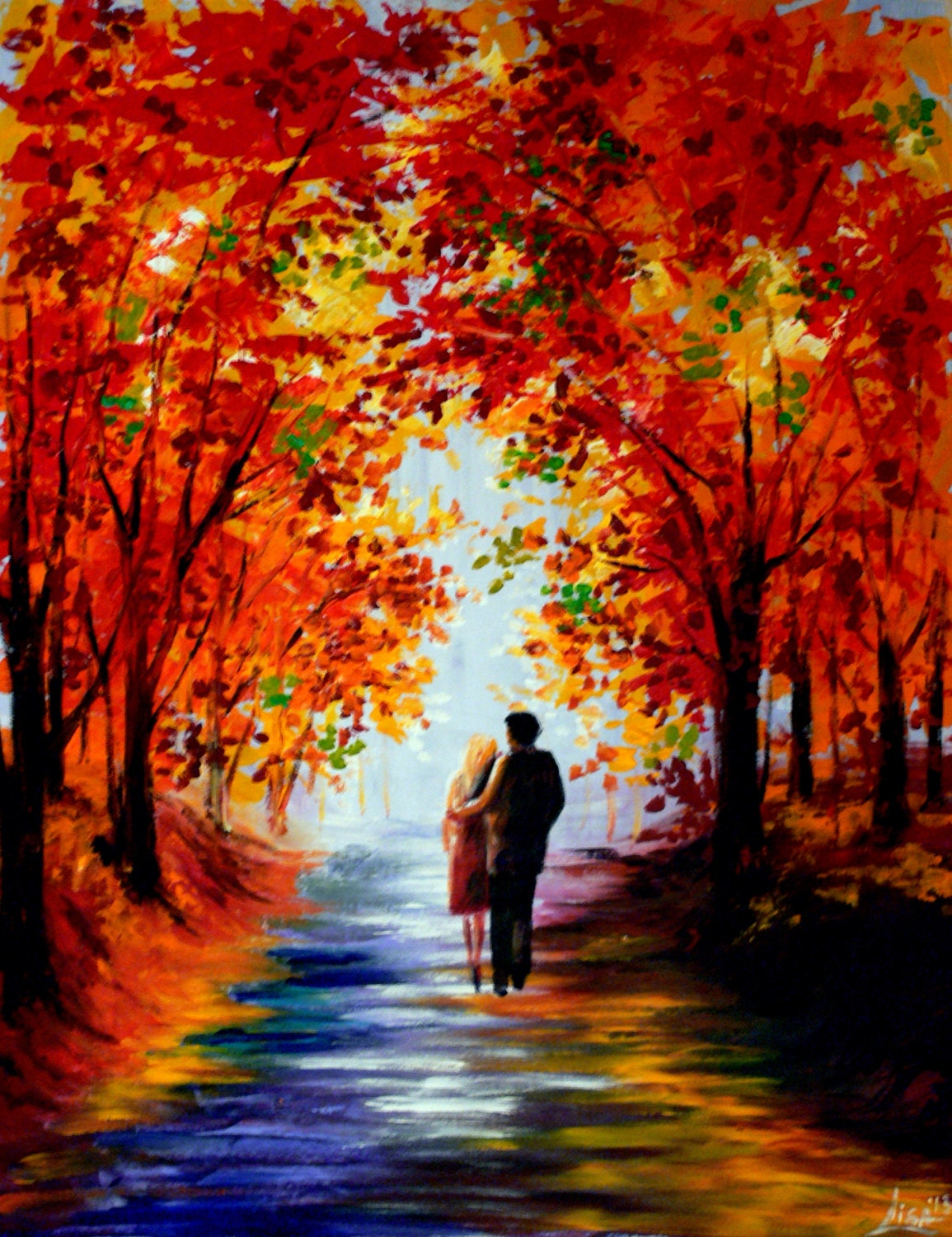 Original painting 35 x 28 autumn walk couple walking for Fall pictures to paint