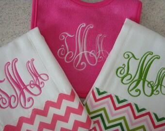 Miss Pink Chevron Burp Cloths with matching Bib Monogrammed