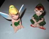 Vintage 1950's Peter Pan and Tinkerbell Ceramic Figurines
