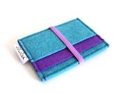 Card Organizer, Card Wallet, Felt Wallet- Teal Blue &  Purple- Light Purple Elastic Band