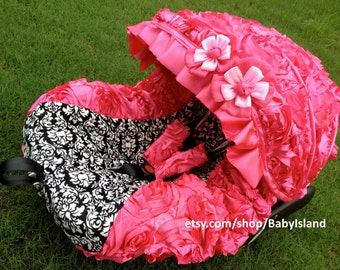 45%off Baby Car Seat Cover Canopy, Infant Car Seat Cover Canopy, 3D Rosette Damask Pink, Baby Girl, fit most car seat,