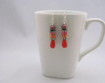 Zig zag earrings, handpainted beads, hand painted earrings, painted chevron earrings, chevrons