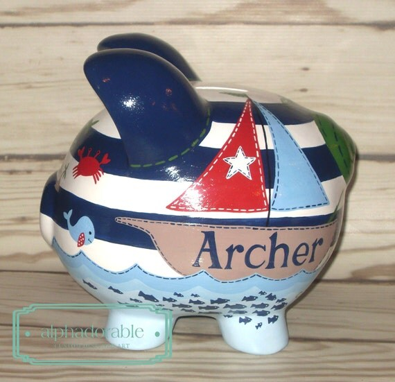 Nautical artisan hand painted ceramic personalized by alphadorable - Nautical piggy banks ...