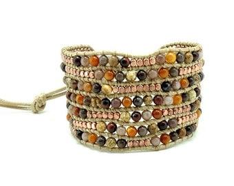Tiger eye,jasper,pink gold plated wrap bracelet.