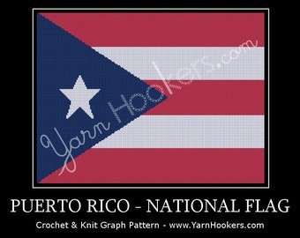 Puerto Rico - National Flag - Afghan Crochet Graph Pattern Chart by Yarn Hookers