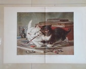 1891 Two Kittens Fighting for a Paint Brush Cat Print