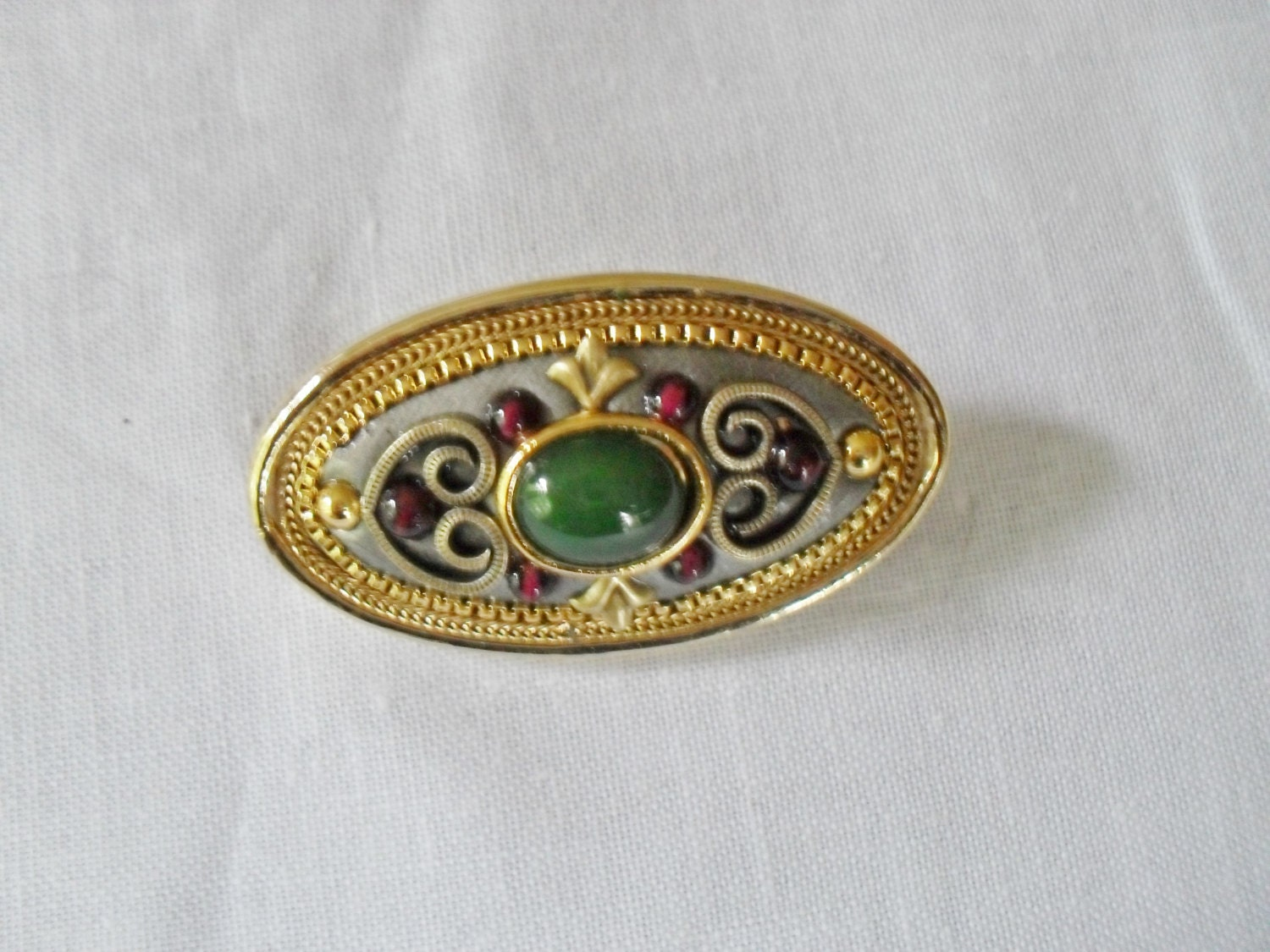 Vintage Signed Michal Golan Brooch and Pendant Semi Precious Cabochons
