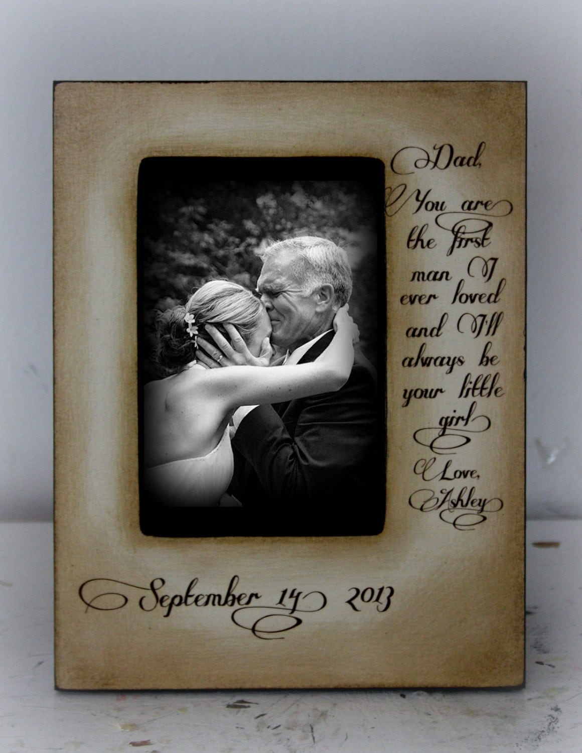 Wedding Gift For Your Dad : Father Daughter Wedding Frame Bride First man I ever loved