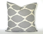 "West Elm Grey Ikat Decorative Pillow Cover - Gray & Flax Tan - To cover 16"", 18"" or 20"" Pillow Form"