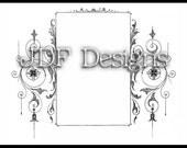 Instant Digital Download, Victorian Era Graphic, Ornate Decorative Frame, Printable Image, Scrapbook