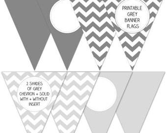 Printable grey banner flags - DIY - gray chevron bunting - instant download