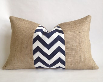 Navy and White Chevron Fabric and Burlap Lumbar Pillow Cover