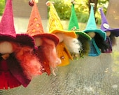 A Rainbow of Witches, Wool Felt Witch, Peg Doll Witch, Waldorf Inspired, Art Doll