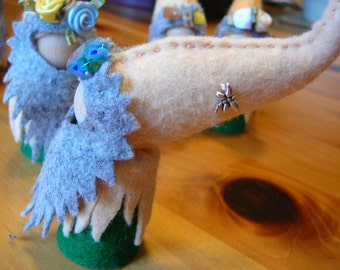 Summer Gnomes, Walforf Inspired, Wool Felt Peg Doll Gnome, One of a Kind