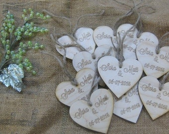 50 Wood Heart Wedding Tags Personalized with Names & Date. These rustic tags add an awesome touch for your special day.