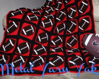Touchdown Football Crochet Throw