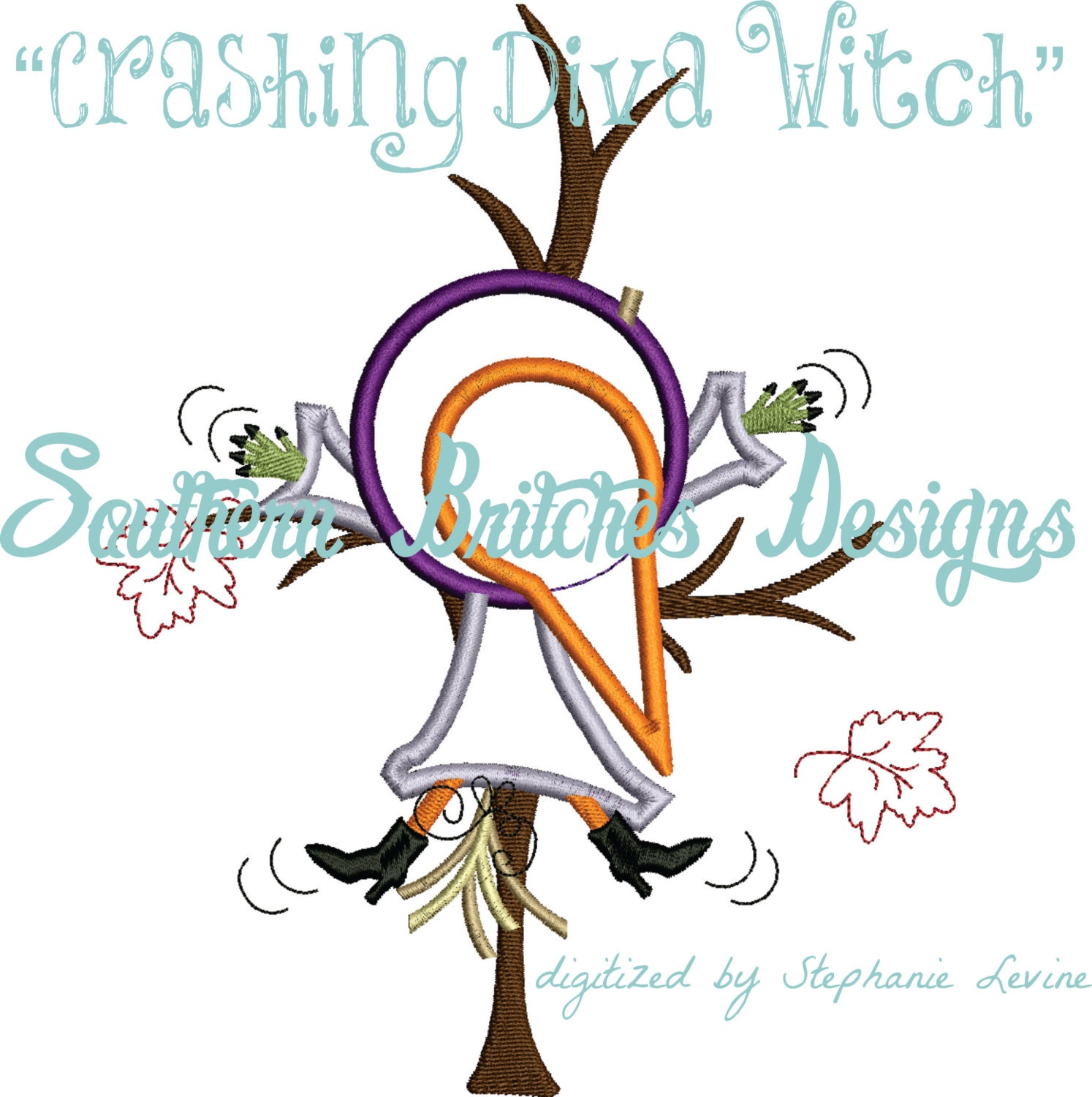 Crashing Witch, Witch Appliqué Embroidery