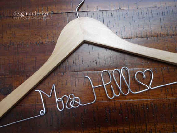 Wedding dress hanger bride hanger last name by deighandesign for Mrs hangers wedding dress