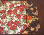 Reserved for Sher - Set of 2  Reversible Cotton Quilted Placemats - Double Poinsettias with Autumn Cornucopia Reverse - Holiday Placemats