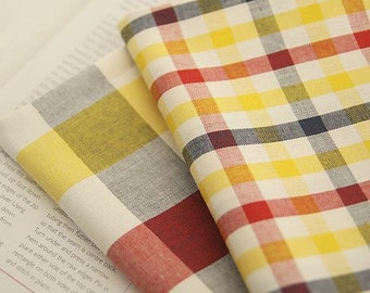 Yarn Dyed Check Cotton Fabric - Yellow  - By the Yard 49036